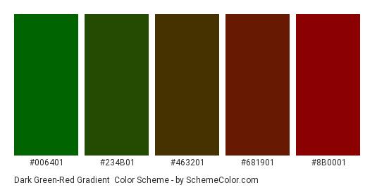 Dark Green-Red Gradient - Color scheme palette thumbnail - #006401 #234B01 #463201 #681901 #8B0001