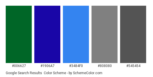 Google Search Results - Color scheme palette thumbnail - #006627 #1906A7 #3484F0 #808080 #545454