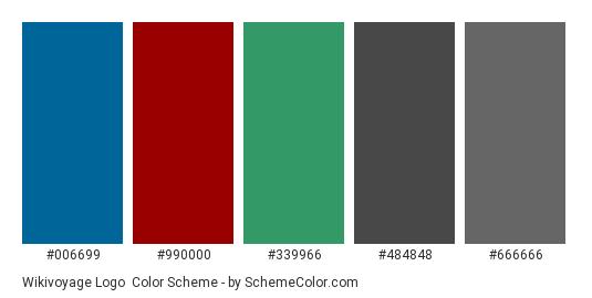 Wikivoyage Logo - Color scheme palette thumbnail - #006699 #990000 #339966 #484848 #666666