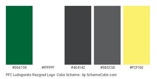 PFC Ludogorets Razgrad Logo - Color scheme palette thumbnail - #006738 #ffffff #404142 #5b5c5e #fcf16e