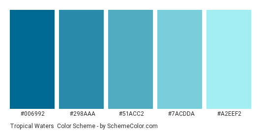 Tropical Waters - Color scheme palette thumbnail - #006992 #298AAA #51ACC2 #7ACDDA #A2EEF2