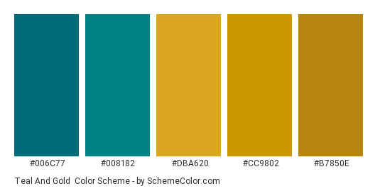 Teal and Gold - Color scheme palette thumbnail - #006c77 #008182 #dba620 #cc9802 #b7850e