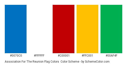 Association for the Reunion Flag Colors - Color scheme palette thumbnail - #0070c0 #ffffff #c00001 #ffc001 #00af4f