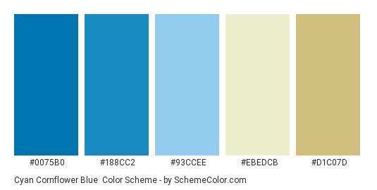 Cyan Cornflower Blue Color Scheme Palette Thumbnail 0075b0 188cc2 93ccee