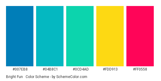 Bright Fun #6 - Color scheme palette thumbnail - #007EB8 #04B8C1 #0CD4AD #FDD913 #FF0558