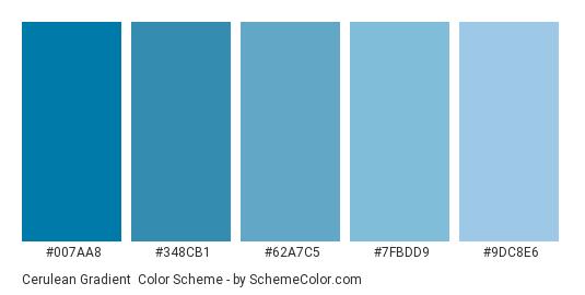 Cerulean Gradient - Color scheme palette thumbnail - #007aa8 #348cb1 #62a7c5 #7fbdd9 #9dc8e6