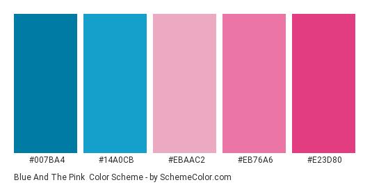 Blue and the Pink - Color scheme palette thumbnail - #007ba4 #14a0cb #ebaac2 #eb76a6 #e23d80