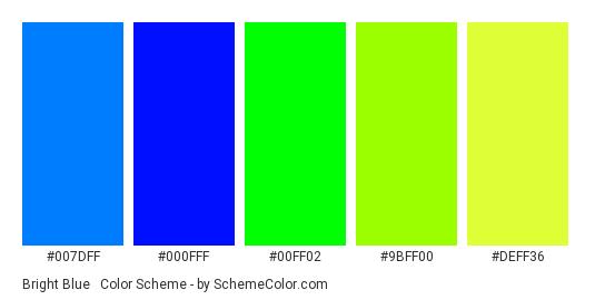 Bright Blue & Green Neons - Color scheme palette thumbnail - #007dff #000fff #00ff02 #9bff00 #deff36
