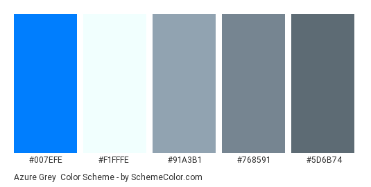 Azure Grey - Color scheme palette thumbnail - #007efe #f1fffe #91a3b1 #768591 #5d6b74