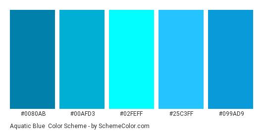 Aquatic Blue Color Scheme Palette Thumbnail 0080ab 00afd3 02feff 25c3ff