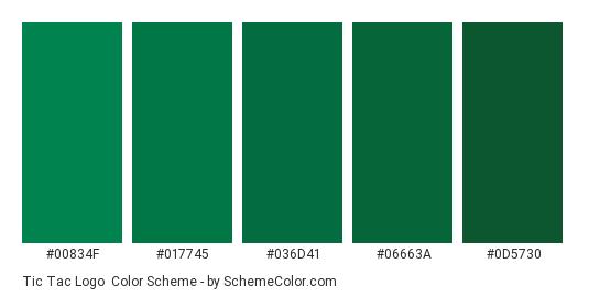 Tic Tac Logo - Color scheme palette thumbnail - #00834f #017745 #036d41 #06663a #0d5730
