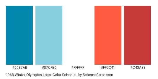 1968 Winter Olympics Logo - Color scheme palette thumbnail - #0087ab #87cfe0 #ffffff #ff5c41 #c43a38