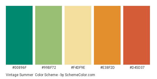 Vintage Summer - Color scheme palette thumbnail - #00896F #99BF72 #F4DF9E #E38F2D #D45D37