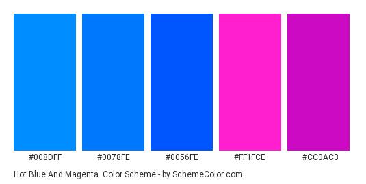 Hot Blue and Magenta - Color scheme palette thumbnail - #008dff #0078fe #0056fe #ff1fce #cc0ac3