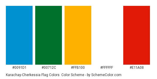 Karachay-Cherkessia Flag Colors - Color scheme palette thumbnail - #0091d1 #00712c #ffb100 #ffffff #e11a08