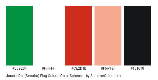 Janata Dal (Secular) Flag Colors - Color scheme palette thumbnail - #00923f #ffffff #ce2d1b #f6a98f #151618