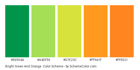 Bright Green And Orange Color Scheme Palette Thumbnail 00954a A4df56 D7e23c