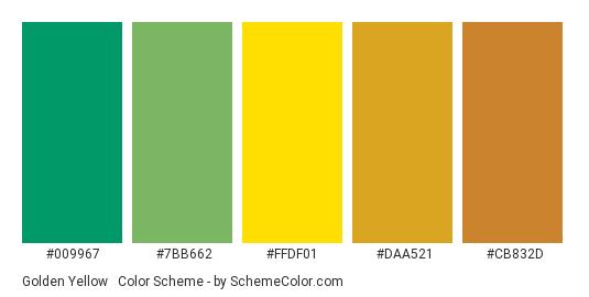 Golden Yellow & Green - Color scheme palette thumbnail - #009967 #7BB662 #FFDF01 #DAA521 #CB832D