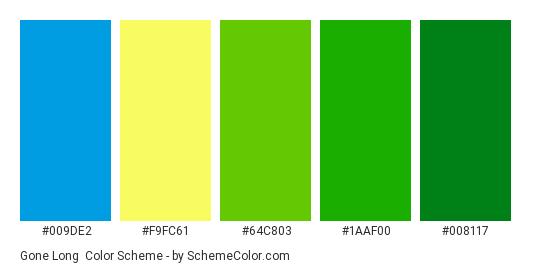 Gone Long - Color scheme palette thumbnail - #009DE2 #F9FC61 #64C803 #1AAF00 #008117