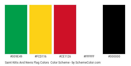 Saint Kitts and Nevis Flag Colors - Color scheme palette thumbnail - #009E49 #FCD116 #CE1126 #FFFFFF #000000