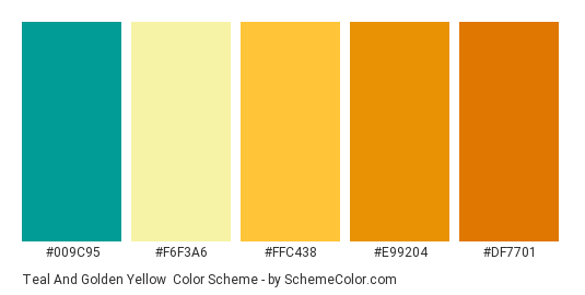 Teal And Golden Yellow Color Scheme Palette Thumbnail 009c95 F6f3a6 Ffc438
