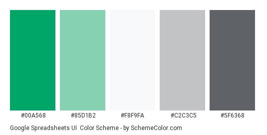Google Spreadsheets UI - Color scheme palette thumbnail - #00A568 #85D1B2 #F8F9FA #C2C3C5 #5F6368
