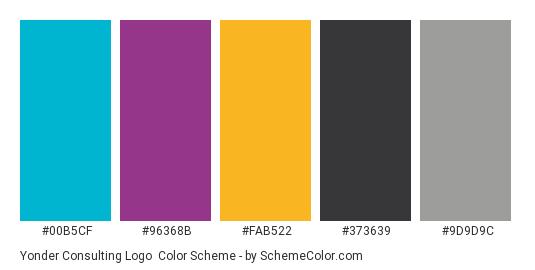 Yonder Consulting Logo - Color scheme palette thumbnail - #00B5CF #96368B #FAB522 #373639 #9D9D9C