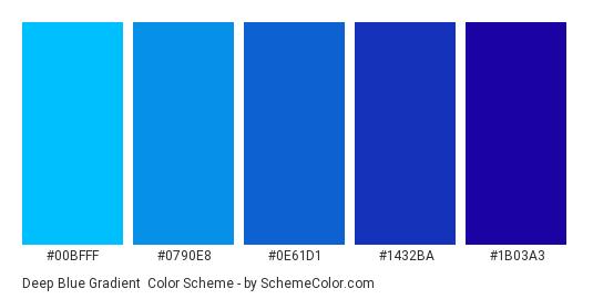Deep Blue Gradient - Color scheme palette thumbnail - #00BFFF #0790E8 #0E61D1 #1432BA #1B03A3