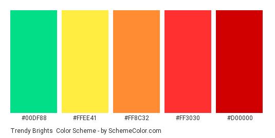 Trendy Brights - Color scheme palette thumbnail - #00DF88 #FFEE41 #FF8C32 #FF3030 #D00000