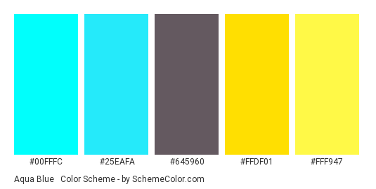 Aqua Blue & Golden Yellow - Color scheme palette thumbnail - #00FFFC #25EAFA #645960 #FFDF01 #FFF947