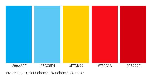 Vivid Blues & Reds - Color scheme palette thumbnail - #00aaee #5cc8f4 #ffcd00 #f70c1a #d5000e