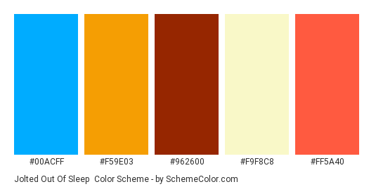 Jolted Out of Sleep - Color scheme palette thumbnail - #00acff #f59e03 #962600 #f9f8c8 #ff5a40