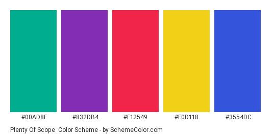 Plenty of Scope - Color scheme palette thumbnail - #00ad8e #832db4 #f12549 #f0d118 #3554dc