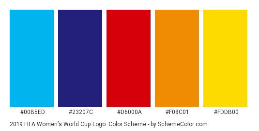 2019 FIFA Women's World Cup Logo - Color scheme palette thumbnail - #00b5ed #23207c #d6000a #f08c01 #fddb00
