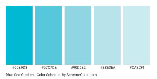 Blue Sea Gradient - Color scheme palette thumbnail - #00b9d3 #57c7db #90d6e2 #b8e3ea #caecf1