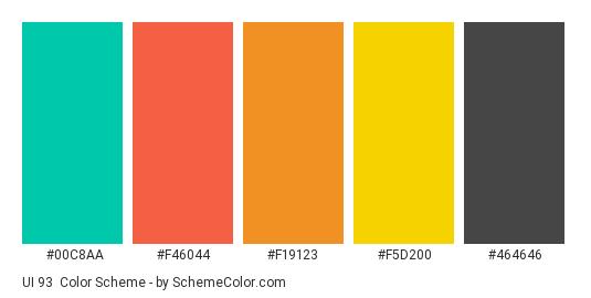UI 93 - Color scheme palette thumbnail - #00c8aa #f46044 #f19123 #f5d200 #464646