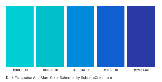 Dark Turquoise and Blue - Color scheme palette thumbnail - #00ced3 #00bfc8 #008adc #0f5fd0 #293aa6
