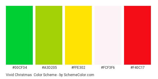Vivid Christmas - Color scheme palette thumbnail - #00cf34 #a3d205 #ffe302 #fcf3f6 #f40c17