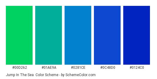 Jump in the Sea - Color scheme palette thumbnail - #00d262 #01ae9a #0281ce #0c48d0 #0124c0