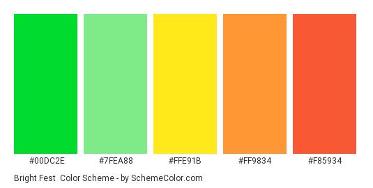 Bright Fest - Color scheme palette thumbnail - #00dc2e #7fea88 #ffe91b #ff9834 #f85934