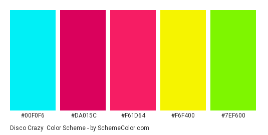 Disco Crazy - Color scheme palette thumbnail - #00f0f6 #da015c #f61d64 #f6f400 #7ef600