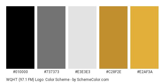 WQHT (97.1 FM) Logo - Color scheme palette thumbnail - #010000 #737373 #e3e3e3 #c28f2e #e2af3a