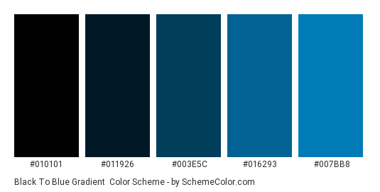 Black to Blue Gradient - Color scheme palette thumbnail - #010101 #011926 #003e5c #016293 #007bb8
