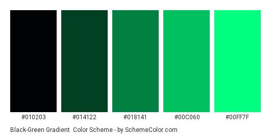 Black-Green Gradient - Color scheme palette thumbnail - #010203 #014122 #018141 #00C060 #00FF7F