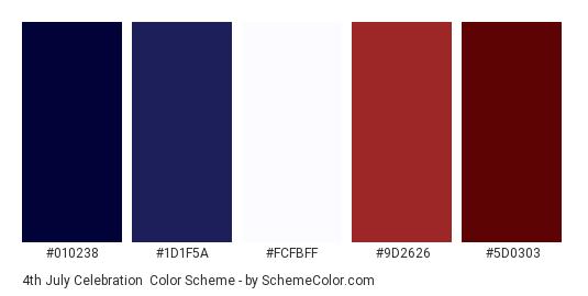 4th July Celebration - Color scheme palette thumbnail - #010238 #1D1F5A #FCFBFF #9D2626 #5D0303