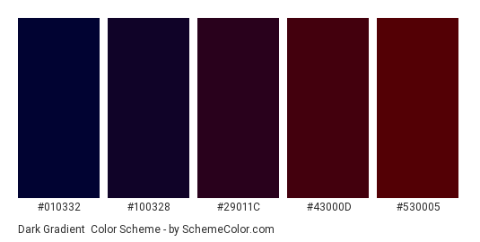 Dark Gradient - Color scheme palette thumbnail - #010332 #100328 #29011c #43000d #530005