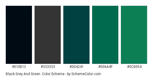 Black Grey and Green - Color scheme palette thumbnail - #010B13 #333333 #004241 #006A4F #0C8054