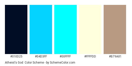 Atheist's God - Color scheme palette thumbnail - #010D25 #04D3FF #00FFFF #FFFFDD #b79a81