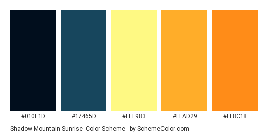 Shadow Mountain Sunrise - Color scheme palette thumbnail - #010e1d #17465d #fef983 #ffad29 #ff8c18