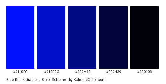 Blue-Black Gradient - Color scheme palette thumbnail - #0110fc #010fcc #000a83 #000439 #000108
